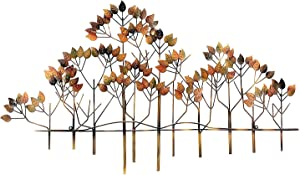 Bellaa 23448 Metal Wall Decor Tree of Life Leaf Floral Accents Wrought Iron Plaque Hanging Country Art Scroll Sculptures Home Garden Decor 40 Inch