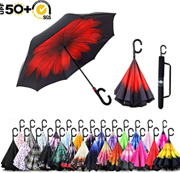 Reverse Umbrella Double Layer Inverted Umbrellas For Car Rain Outdoor With C-Shaped Handle Usa Flag Customized
