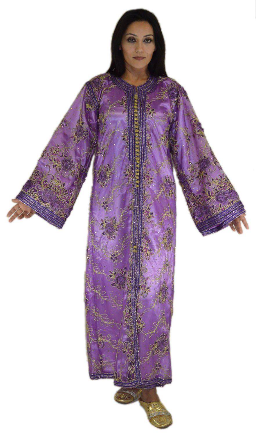 Moroccan Caftans Wedding Gown Handmade 2 Pieces Embroidered Fits SMALL to LARGE Purple