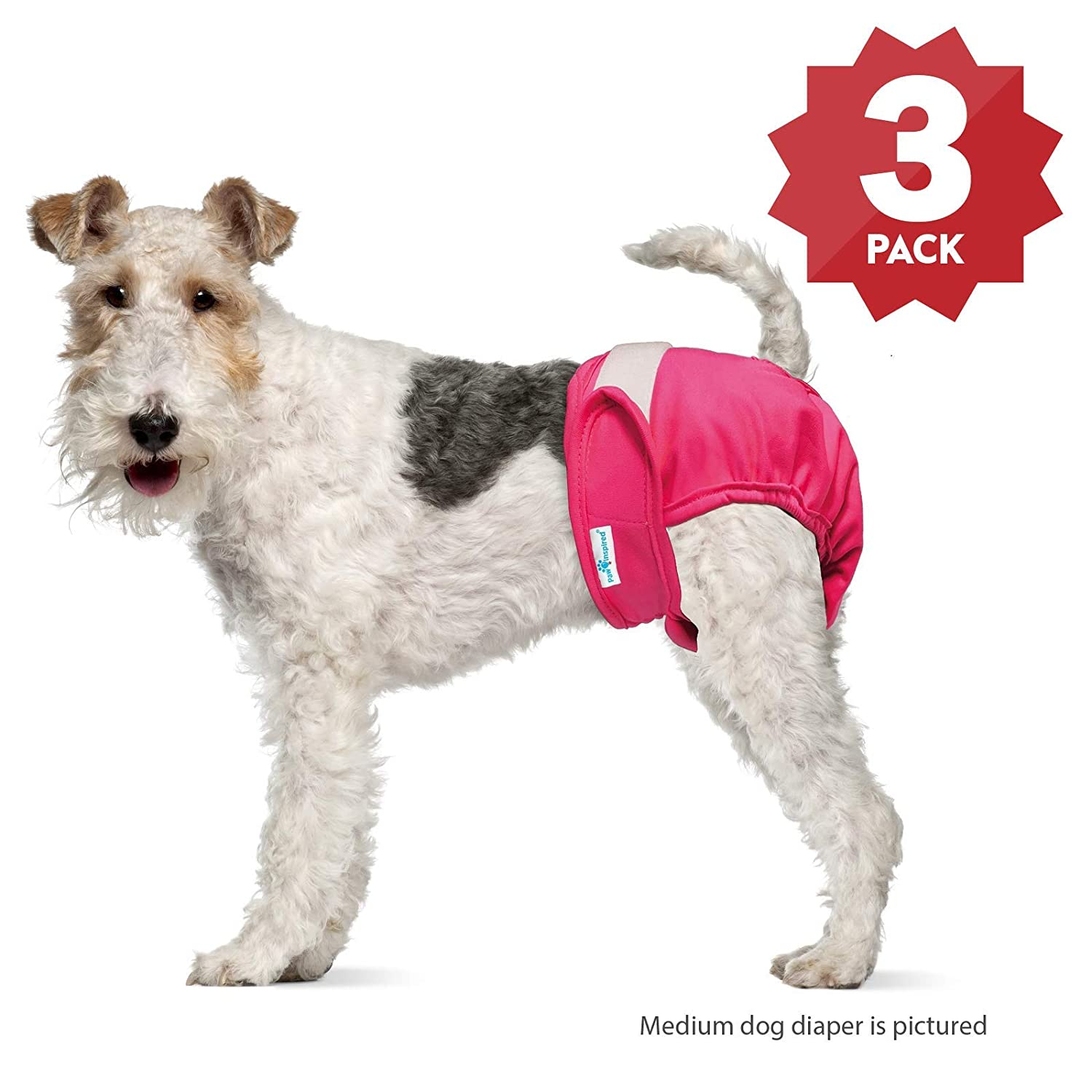 X-Small Paw Inspired Ultra Predection Washable Dog Diapers, Reusable, Female, 3 Count, X-Small