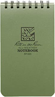"product image for Rite In The Rain 946 Weatherproof Top Spiral Notebook, 4"" x 6"", Green Cover, Universal Pattern, 1 Pack"