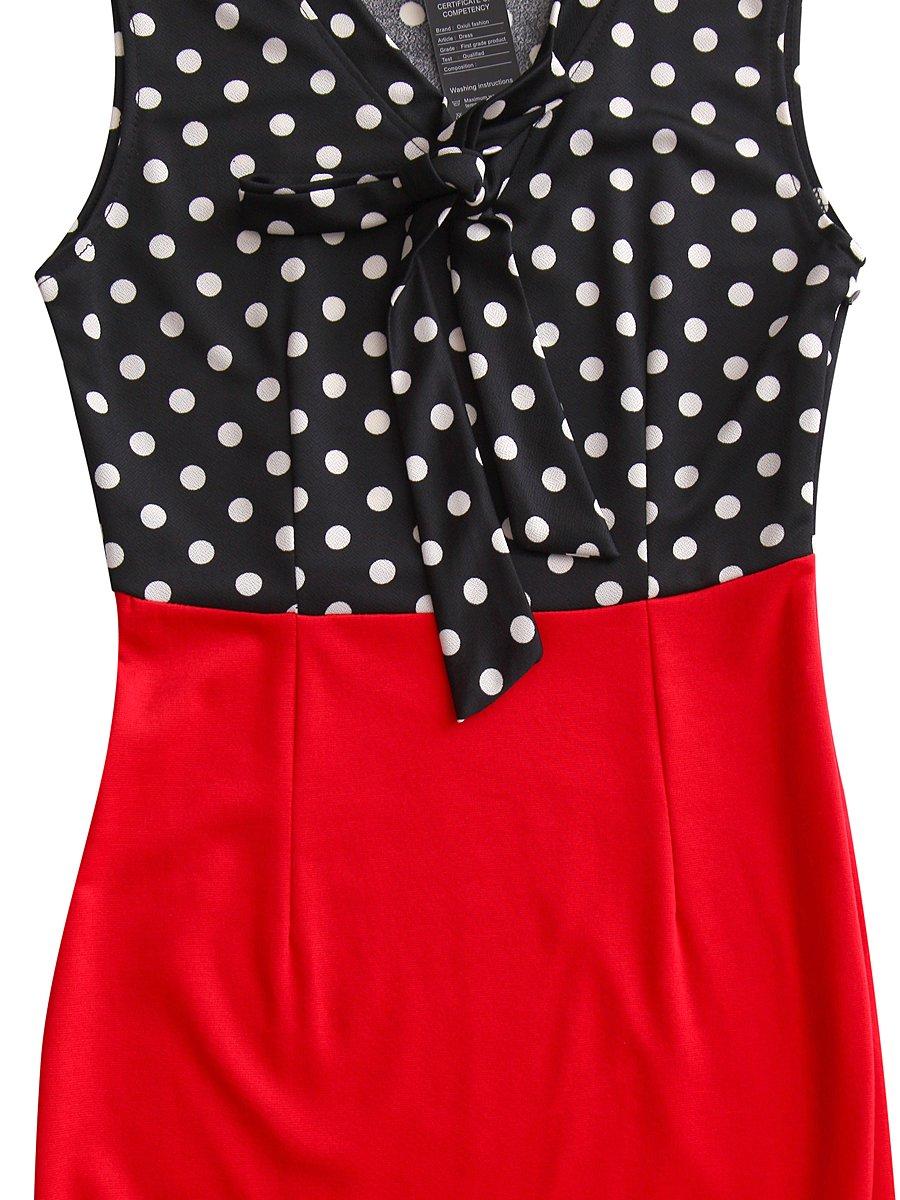 CISMARK Elegant Color block V-Neck Sleeveless Office Pencil Dress Red M by CISMARK (Image #5)