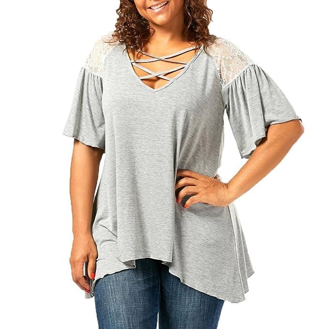YEBIRAL Camisetas Mujer Verano Tallas Grandes con Cuello En V Suelto ...