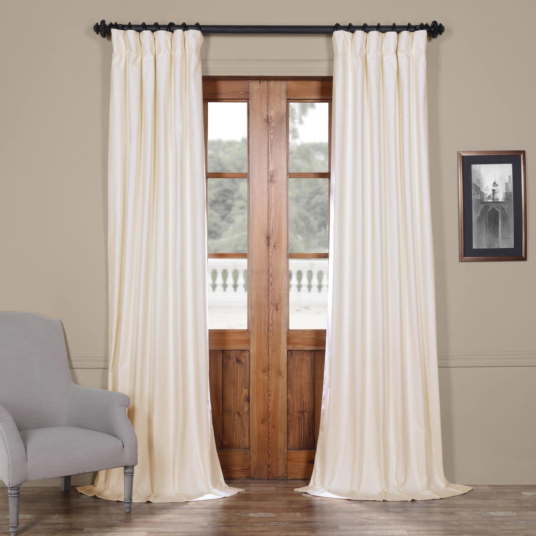 Fresh Popcorn 50 X 108 HPD Half Price Drapes PRCT-BO09B-108 Solid Cotton Blackout Curtain, 50 X 108, Whisper White