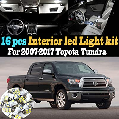 16Pc 6000k White Interior LED Light Bulb Kit Package Compatible for 2007-2020 Toyota Tundra: Automotive