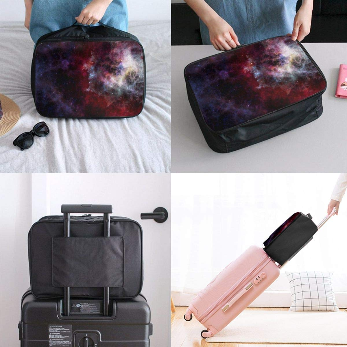 Art Abstract Space Travel Lightweight Waterproof Foldable Storage Carry Luggage Large Capacity Portable Luggage Bag Duffel Bag
