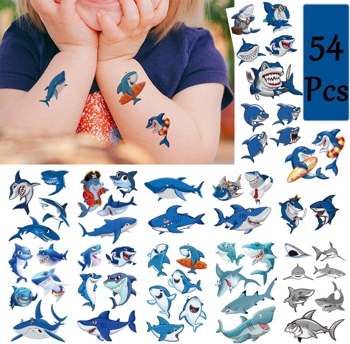 Shark Temporary Tattoos(54Pcs in Large Size) Summer Waterproof Shark Stickers for Boys, Ocean Adventure Party Supplies, Birthday Baby Shower Summer Pool Party Decoration Supplies for Kids and Adults