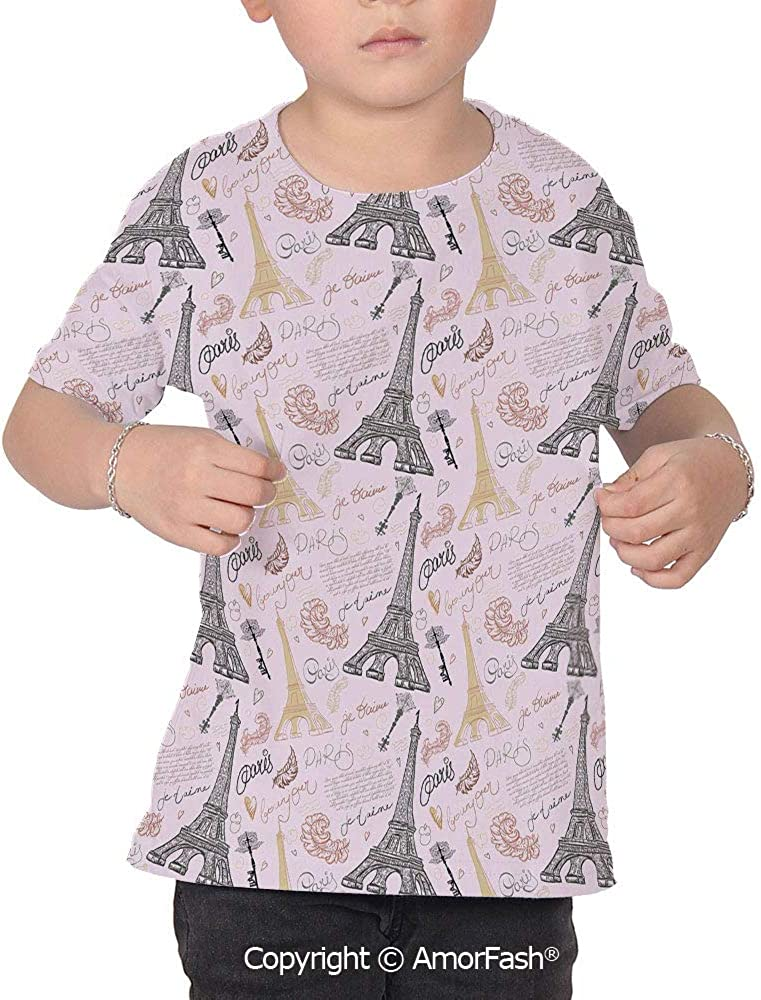 Paris Colorful Boys and Girls Soft Short Sleeve T-Shirt,Eiffel Tower Sketch with