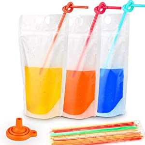 100PCs Drink Pouches with 100PCS Individual Wrapped Straws, Freezable Juice Pouches Bags DIY Frosted Reclosable Zipper Drink Bags Ice Beverage Container, Silicone Funnel Included - 17oz (100 Pack)