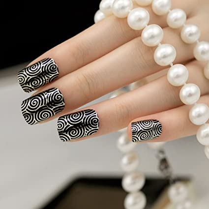 ARTPLUS negro media funda de Full de cromo Kit de uñas postizas con pegamento 24pcs plata