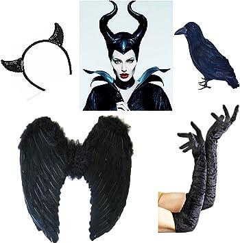Halloween disfraz de Maléfica cuernos mal cuernos Disfraz de la Bella Durmiente: Amazon.es: Juguetes y juegos