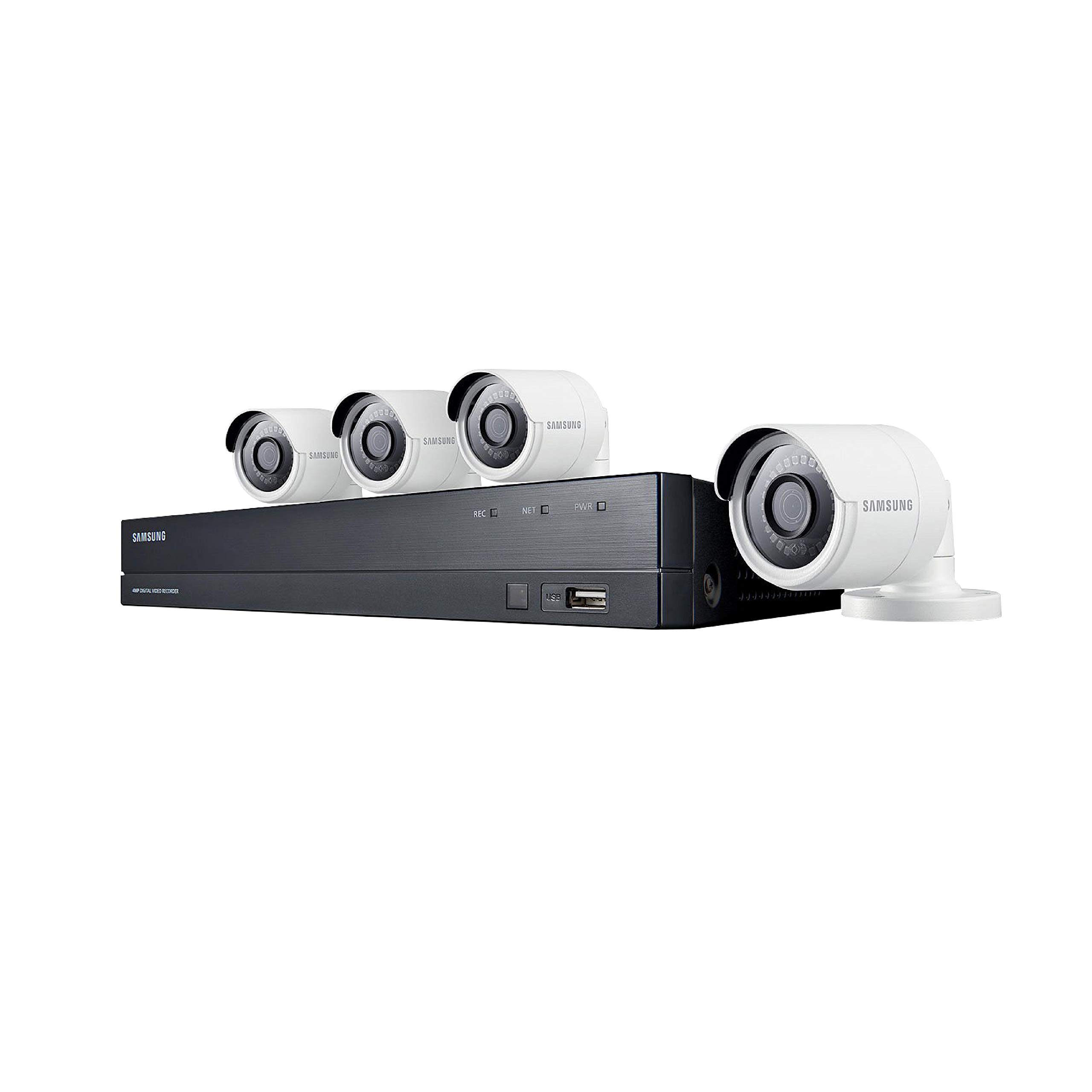 Samsung Wisenet SDH-B84040BF 8 Channel 4 MP Super HD DVR Video Security System 4 Weather Resistant Bullet Camera (SDC-89440BC) with 1TB Hard Drive by Samsung