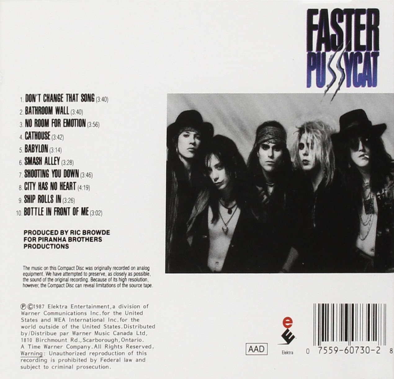 Faster Pussycat Bathroom Wall Lyrics -