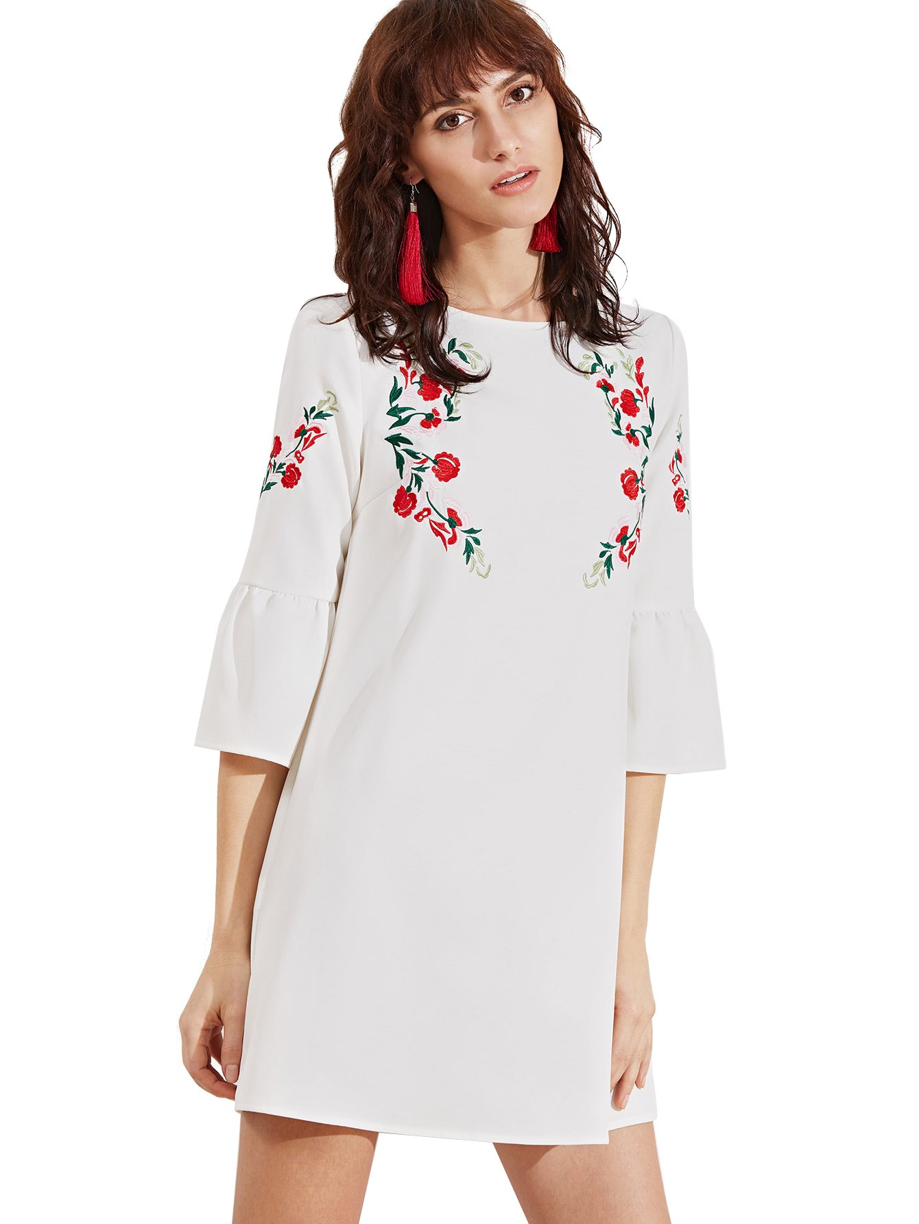 Floerns Women's Bell Sleeve Embroidered Tunic Dress Small White