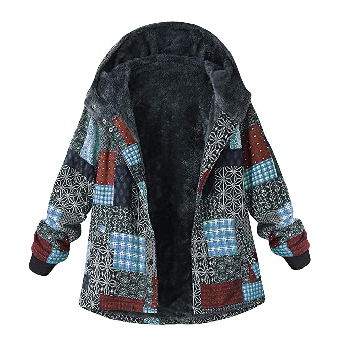Amazon.com: Faionny Women Padded Jacket Fleece Zipper Overcoat Plus Size Cardigan Hooded Print Coat Winter Warm Parka Thick Blazer: Clothing