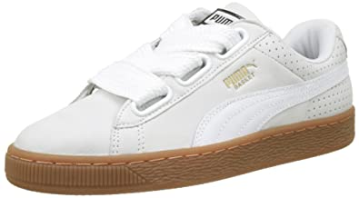 Puma Womens Basket Heart Perf Gum Trainers, Puma White-Gold, 4.5 UK