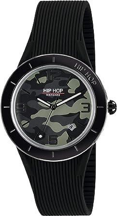 Orologio HIP HOP uomo X MAN quadrante verde e cinturino in silicone, metallo nero, movimento SOLO TEMPO 3H QUARZO