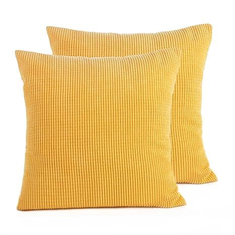 jespeker Yellow Square Cojín decorativo Caso Cojín Cord ...