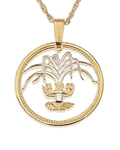 welsh coin pendant necklace wales one pound coin hand cut