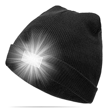 c4ff82cd GZQ Lighted Beanie Cap Ultra Bright 5 LED Hands Free Unisex Winter Warm  Headlamp Hat for