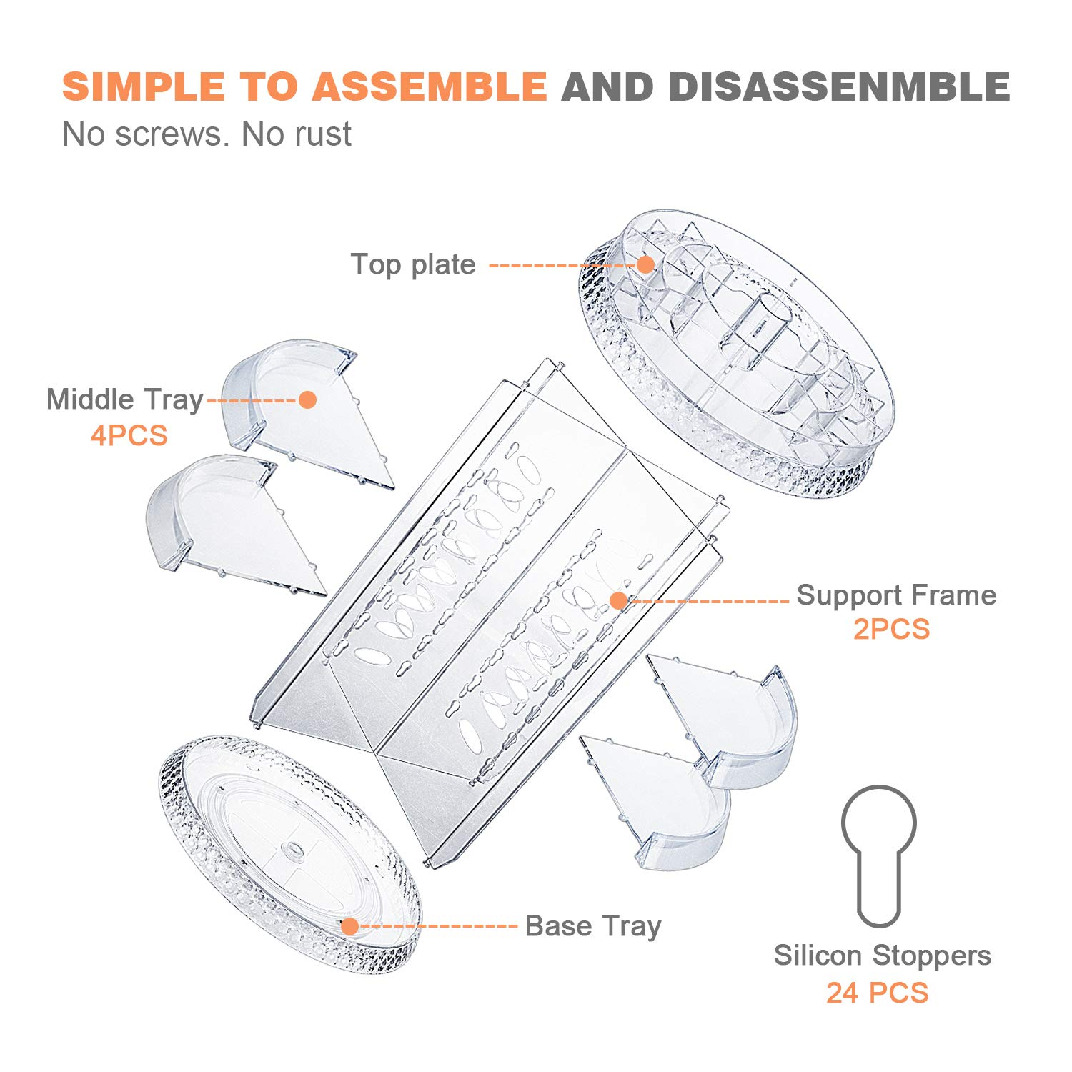 360 Degree Rotating Makeup Organizer Clear Adjustable Layers Large Capacity Multi-Function Cosmetics Accessories Storage Holder Fits Different Types of Products C