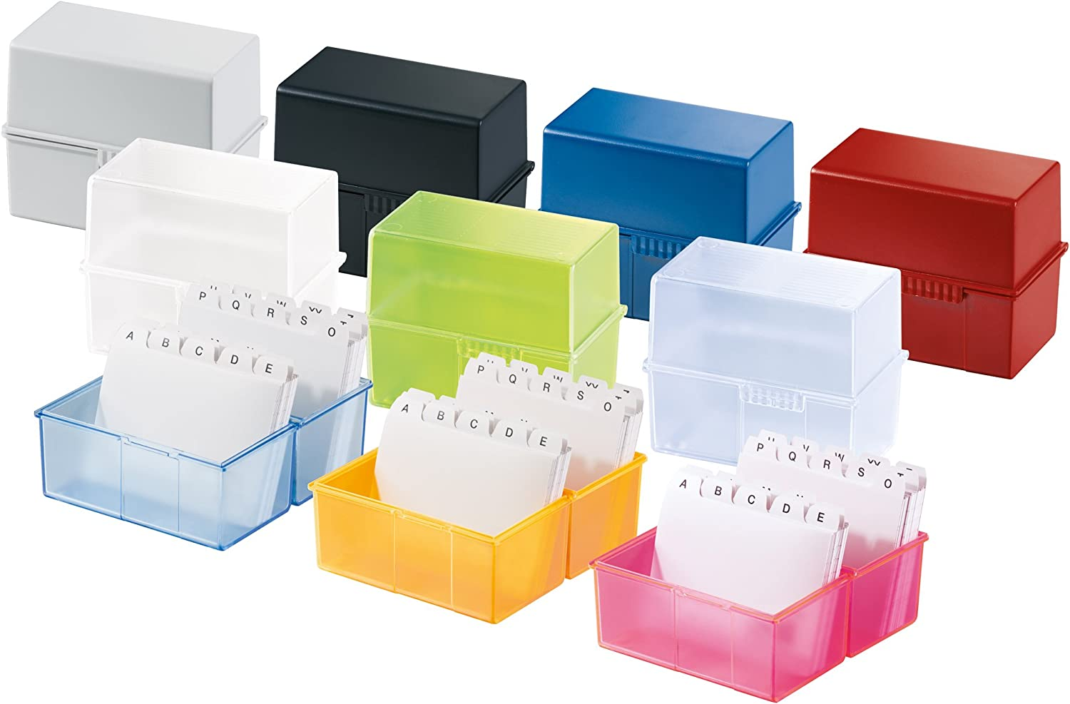 attractive design holds a maximum of 300 cards with steel hinge HAN 977-64 Innovative various colours to choose from translucent blue Card index box A7 landscape