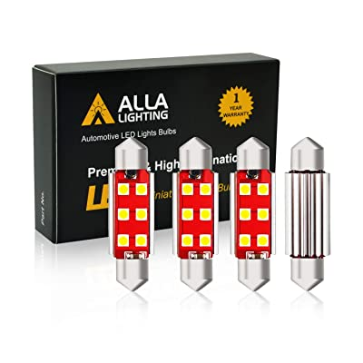 Alla Lighting 211-2 578 LED Bulb White Festoon Interior Lights Xtreme Super Bright Dome Map Trunk Courtesy Light Replace Cars Trucks CAN-BUS 41mm 212-2 569 6413, 6000K Xenon (4pcs): Automotive