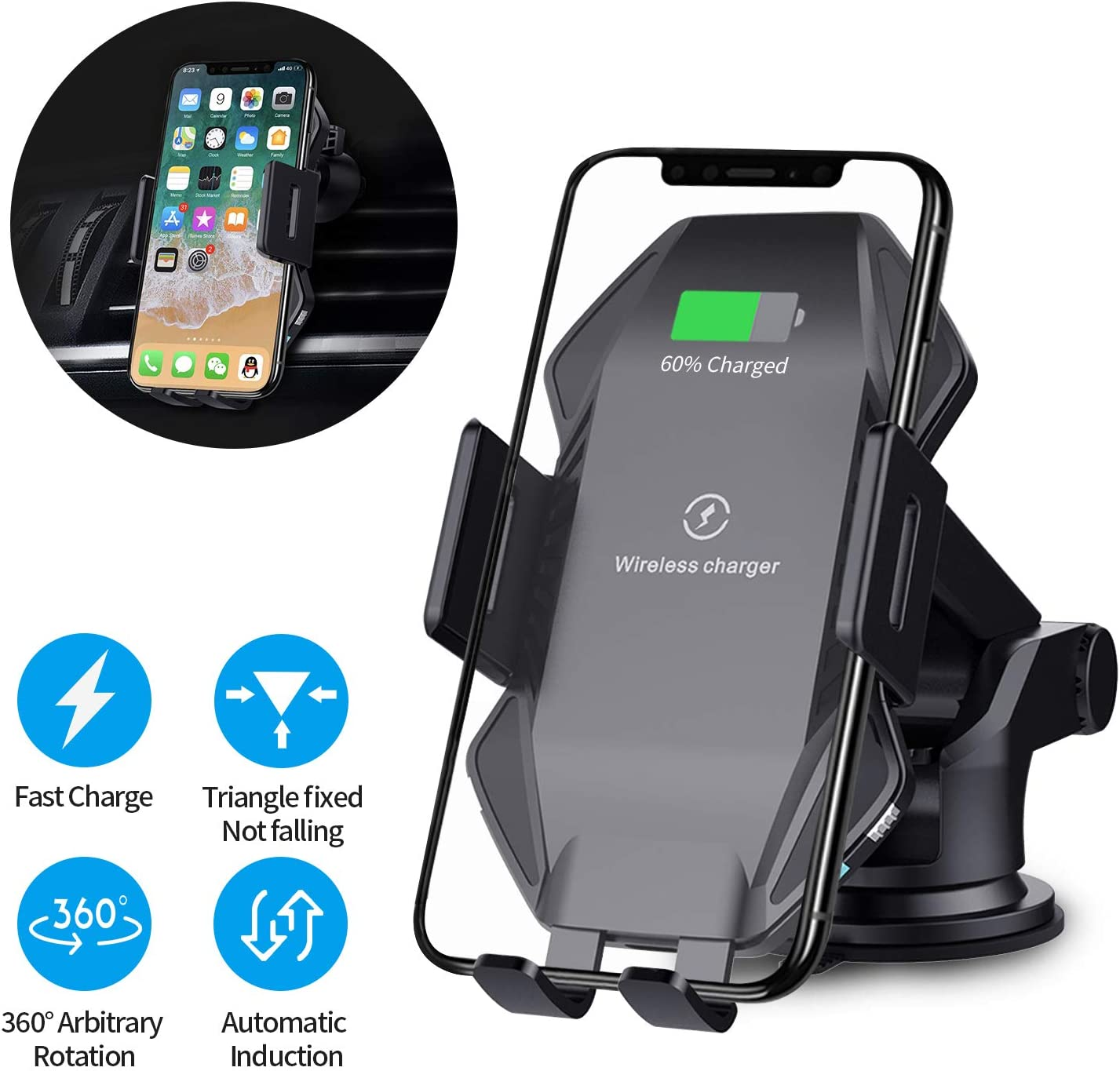 Wireless Charger Auto-Clamping Dashboard /& Vent Phone Holder for iPhone X//XS//XS Max//XR//8//8 Plus,Samsung S9//S9 Plus//S8//S8 Plus//Note 9//8 and All Qi-Enabled Device Wggou 10W Fast Wireless Charger Car Mount