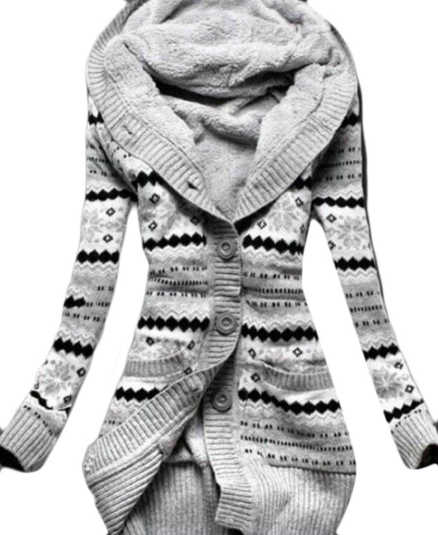 KLJR-Women Buttons Outdoor Hooded Print Fleece Lined Cardigan Sweater