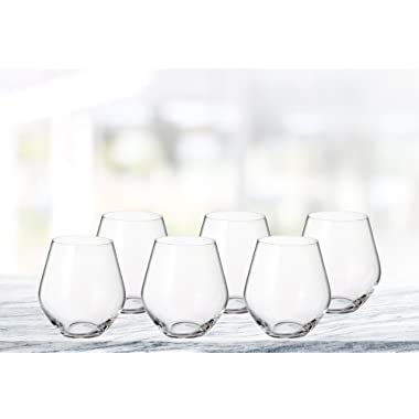 (D) Bohemian Crystal  Michelle  6-pc Red Wine 17 Oz Goblets, Lead Free