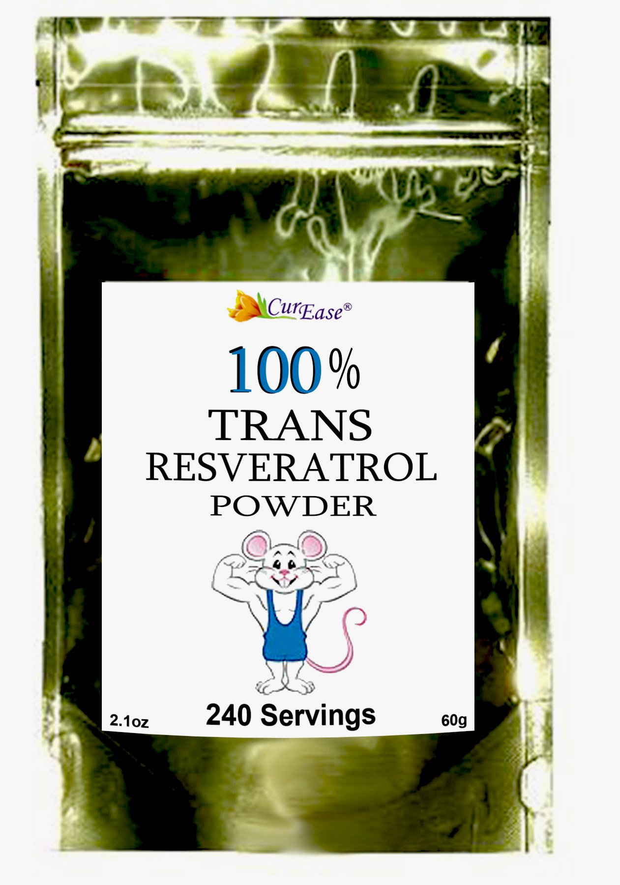 CurEase 100% Pure Trans Resveratrol Powder 240 Servings (60 Grams) 250mg Per Servings by CurEase