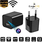 EagleEYE 1920P x 1080P HD USB Wall Charger Hidden Spy Camera with WiFi for Security Surveillance (Black)