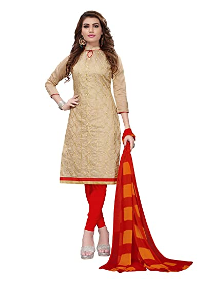 6b1be9f6f7 Applecreation Women'S Chanderi Unstitched Salwar Suit Material (Beige_Free  Size): Amazon.in: Clothing & Accessories