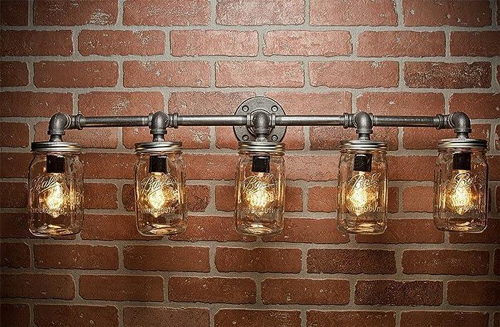 steampunk lighting. Farmhouse Lighting - Mason Jar Light Steampunk Bar  Industrial Steampunk Lighting