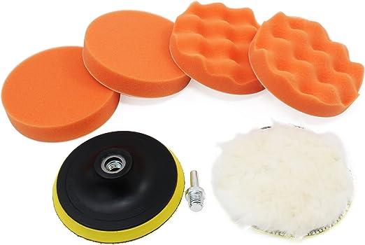 6pcs 5in Car Polish Wax Sponge Foam Pad Polisher Buffer Set Drill Adapter Kit