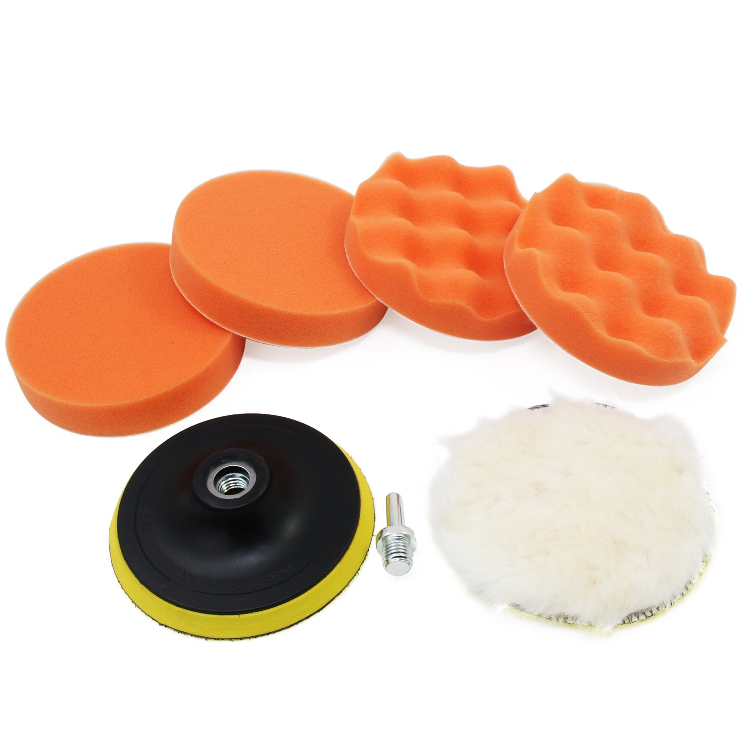OCR 5inch Car Polishing Buffer Waxing Buffing Pad Drill Polishing Sponge Wheel Set with Drill Adapter for M14 Connector Drill(5inch-7pcs)