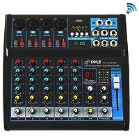 Pyle 6-Ch. Bluetooth Audio Mixer Console [Studio & DJ Sound Mixing System] USB/Computer Connection Interface | Digital MP3 Support | +48V Phantom Power (PMXU63BT)