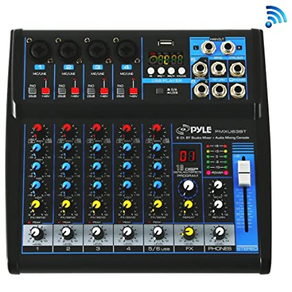 Pyle Professional Audio Mixer Sound Board Console - Desk System Interface  with 6 Channel, USB, Bluetooth, Digital MP3 Computer Input, 48V Phantom