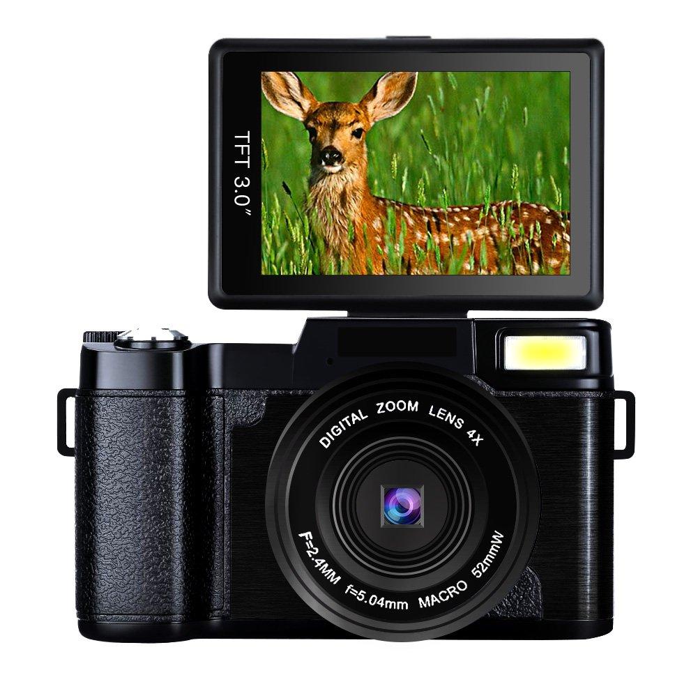 "Digital Camera Camcorder Full HD Digital Video Camera 1080p 24.0MP Retractable Flash Light 3"" Screen Video Recorder (bk1) … (YC12-FBA)"