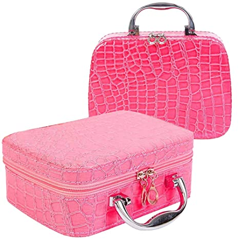 ... Travel Cosmetic Make-Up Bag With Small Mirror Adjustable Dividers for  Cosmetics Makeup Brushes (Multi Color) Online at Low Prices in India -  Amazon.in ad1b527d90d28