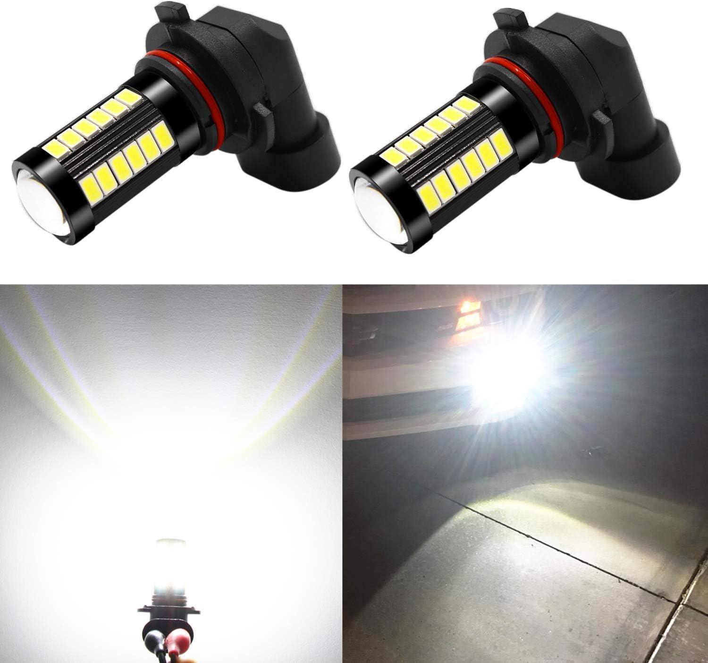 Alla Lighting 9006 LED Fog Light Bulbs 2800 Lumens Xtreme Super Bright 9006 LED Bulb 5730 33-SMD LED 9006 Bulb HB4 9006 LED Fog Lights for Car Truck Van - 6000K Xenon White