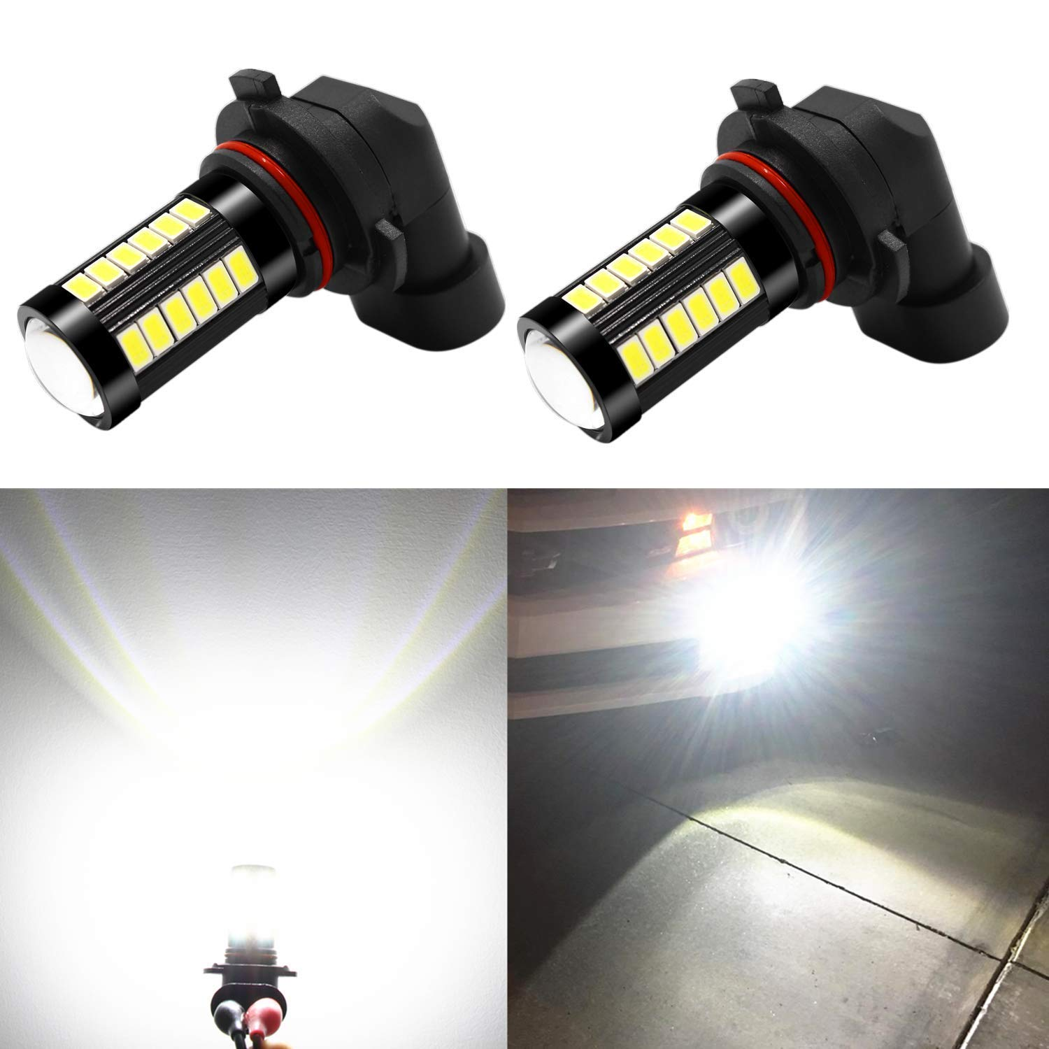 Alla Lighting 5202 LED Fog Light Bulbs 2800lm Xtreme Super Bright 5202 LED Bulb 5730 33-SMD 12V LED 5202 Bulb PS19W 5201 5202 LED Fog Lights DRL - 6000K Xenon White