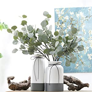 "Crt Gucy 24"" Artificial Eucalyptus Sprays Leaves Fake Long Silver Dollar Sprays Leave Garland for Wedding Party Home Decor 3PCS"
