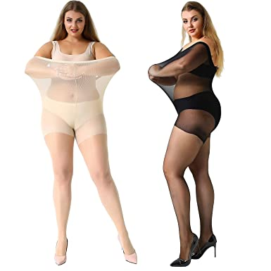 e1fa87f7be4b4 Image Unavailable. MANZI Women's 2 Pairs Plus Size Control Top Ultra-Soft  Tights Size XXXXL