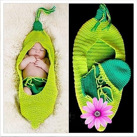 Happy elementos bebé recién nacido fotografía Prop – Disfraz de Navidad gorro de punto Crochet trajes set verde Seidenraupe