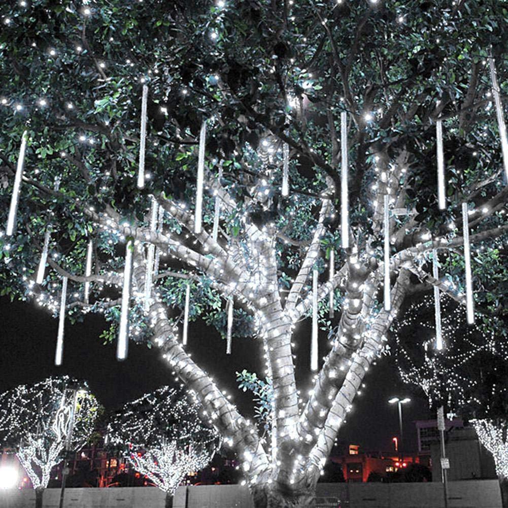 SUNSETGLO Luci Di Pioggia Del Meteorite, 30cm 8 Luci Di Caduta Della Pioggia Di LED Dei Tubi Luci Di Goccia Di Pioggia Che Cadono Per La Festa Nuziale Festa Dell'albero Del Giardino Di Natale 300Lm SUNSETGLOW