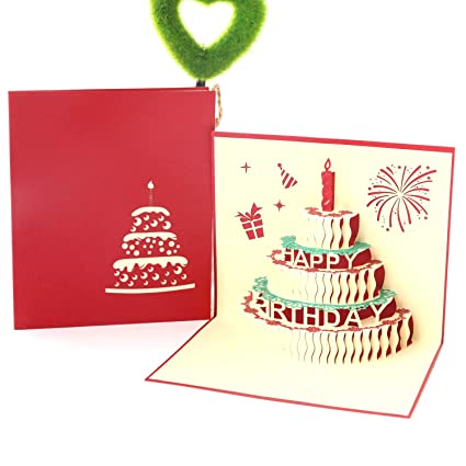 Amazon Paper Spiritz Pop Up Birthday Cake Cards 3D Card Mothers Day Anniversary Office Products
