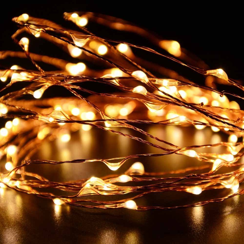 amazoncom ryham 3m98ft 30leds led string lights battery operated fairy copper lights for seasonal indoor and outdoor decorationyellow home improvement