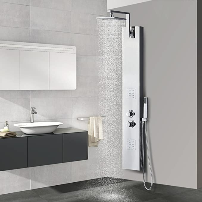 55 VS158 Chrome plated finish Vantory Shower Panel Tower System Head SUS 304 Stainless Steel,8K Mirror Rainfall Waterfall Massage with 8 Body Jets