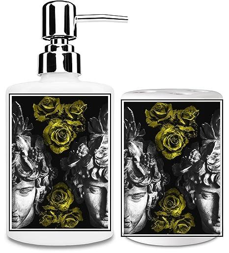 Dioniso con rosas dispensador de jabón líquido y vaso para cepillo de dientes set| añadir